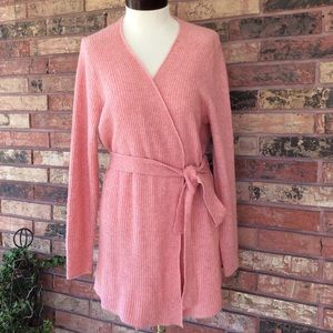 J Crew M Pink Ribbed Long Cardigan Belted Sweater